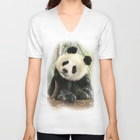 china V-neck T-shirts featuring China Bear by Trudi Simmonds