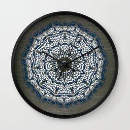 BLUE, GREY AND WHITE MANDALA  Wall Clock