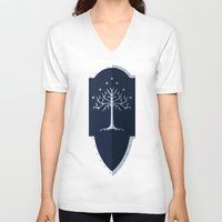 gondor V-neck T-shirts featuring Shield of Gondor by DWatson