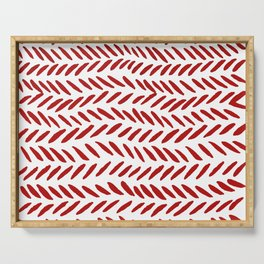 Watercolor knitting pattern - red Serving Tray