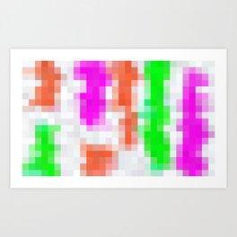 pink orange green and white pixel background Art Print