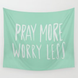 Pray More x Mint Wall Tapestry