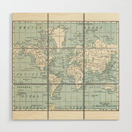 World Map in Blue and Cream Wood Wall Art