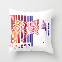 zebra Throw Pillows featuring zebra  by mark ashkenazi
