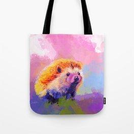 Sweet Hedgehog, cute pink and purple animal painting Tote Bag