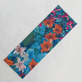 Blue Jungle of Orange Lily and Pink Trumpet Vine Floral Yoga Mat