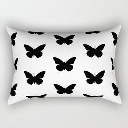 Black Butterfly Pattern and Print Rectangular Pillow