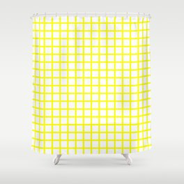 Grid (Classic Yellow & White Pattern) Shower Curtain