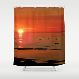 Kayaker and the Setting Sun Shower Curtain