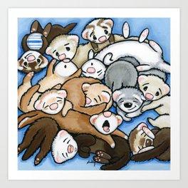 Wall to Wall Weasels Art Print