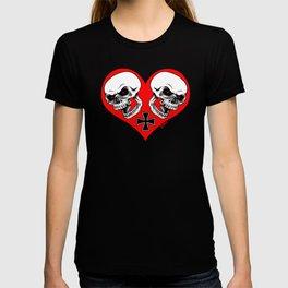 2 skulls 1 Heart T-shirt