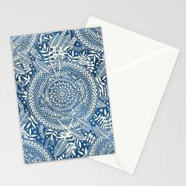 Diamond and Doodle Mandala On Blue Stationery Cards