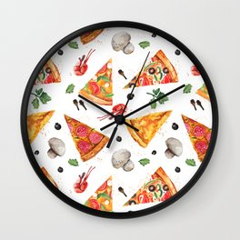 Pizza Pattern, Food Pattern, Watercolor Pizza Wall Clock