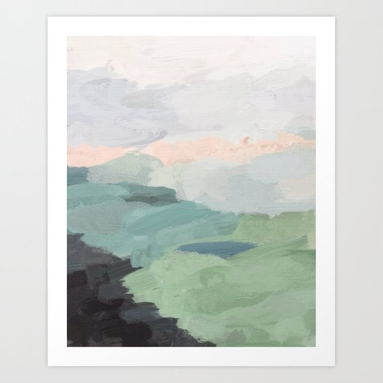 Seafoam Green Mint Black Blush Pink Abstract Nature Land Art Painting by rachelelise