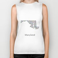 maryland Biker Tanks featuring Maryland map by David Zydd