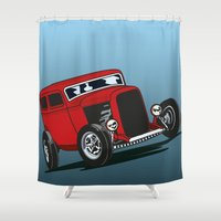 ford Shower Curtains featuring 32 Ford Sedan by dogmartin