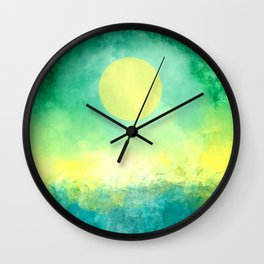 Yellow Moon, Emerald Sky, Blue Water Wall Clock