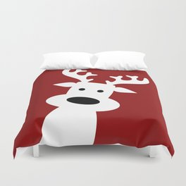 Reindeer on red background Duvet Cover