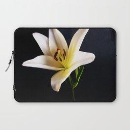 Single White Lily on black Laptop Sleeve