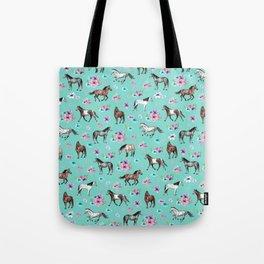 Hand drawn horses, Flower horses, Floral Pattern, Aqua Blue Tote Bag