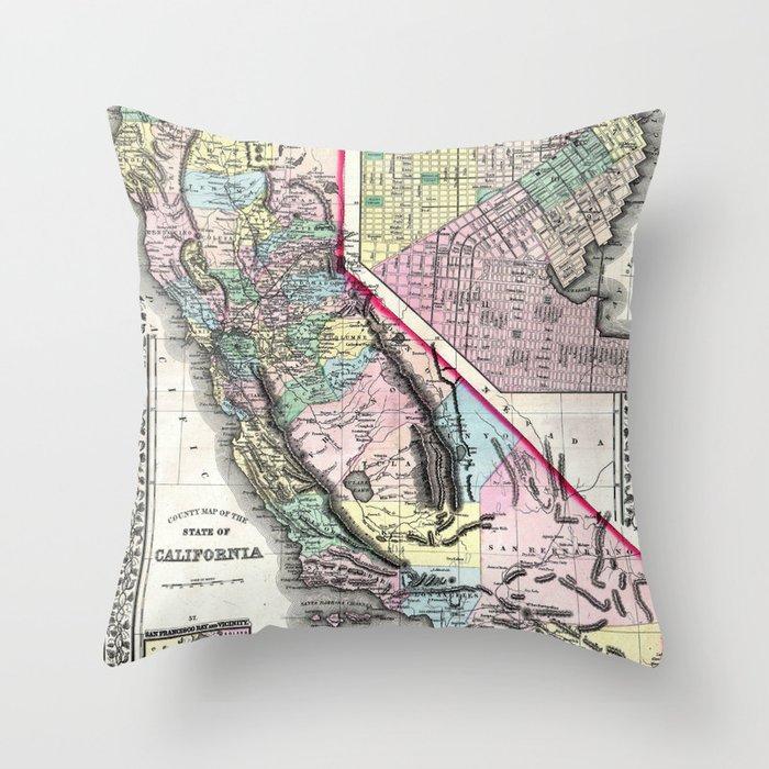 1872 Map of California and San Francisco Throw Pillow