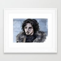 jon snow Framed Art Prints featuring Jon Snow by amberandtigers