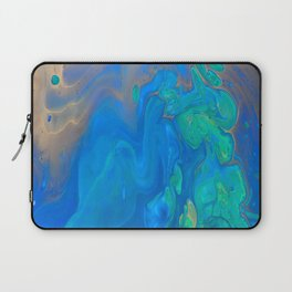 Slow Down Blue II - Bright Blue Green Fluid Painting Laptop Sleeve