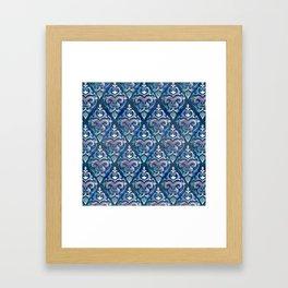 Persian Floral pattern blue and silver Gerahmter Kunstdruck
