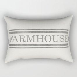 Vintage Farmhouse Grain Sack Design - Cream and Grey Rectangular Pillow