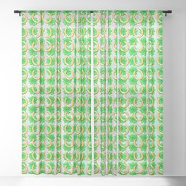 Lucky with gold horseshoes and four leaf clovers Sheer Curtain