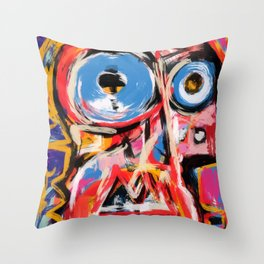 Art brut outsider underground graffiti portrait Throw Pillow