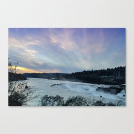 A CHILLY WINTER WILLAMETTE FALLS SUNSET Canvas Print