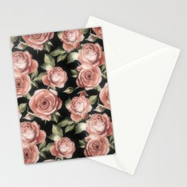 Classic Pink Roses On Black Stationery Cards