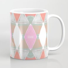 Art Deco Triangles Coral Grey Coffee Mug