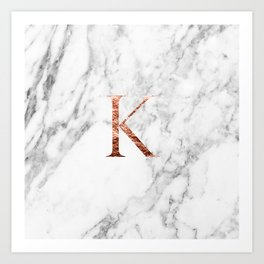 Monogram rose gold marble K Art Print