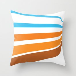 BLUE, ORANGE  AND BROWN LINES  ON A WHITE BACKGROUND Abstract Art Throw Pillow