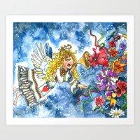 angel Art Prints featuring Angel by Shelley Ylst Art