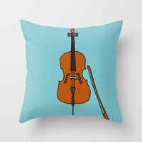 cello Throw Pillows featuring Cello by Illustrated by Jenny