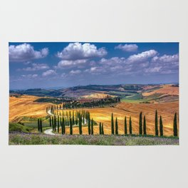 Cypress trees and meadow with typical tuscan house Rug