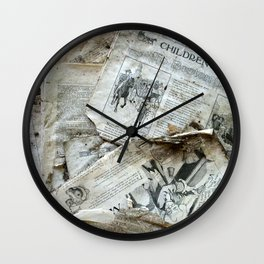 Old Newspaper Left to the Elements...Children's Page Wall Clock