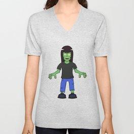 Zombie Girl - Brown Hair Unisex V-Neck