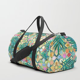 Gilded Moroccan Mosaic Tiles with Palm Leaves Duffle Bag