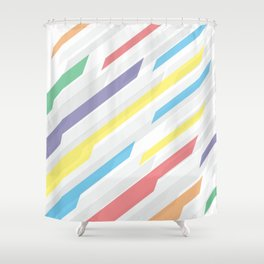 Tech geometric colorful lines background #society6 #decor #buyart #artprint Shower Curtain