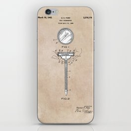 patent art Meat Termometer 1939 iPhone Skin