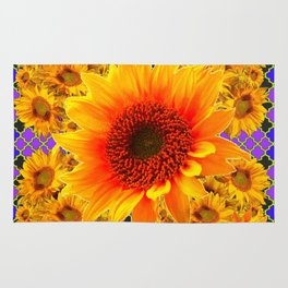 YELLOW-RED SUNFLOWERS ON   PURPLE PATTERN Rug