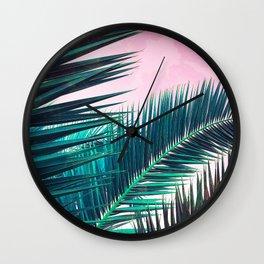 Nostalgic Palm Leaves on Pink #homedecor #buyart Wall Clock