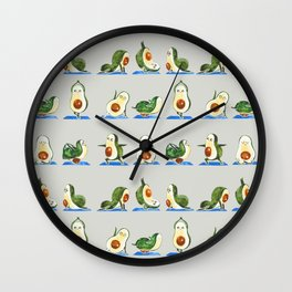 Avocado Yoga Watercolor Wall Clock