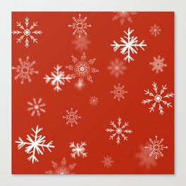 Christmas Snowflakes: Red Canvas Print