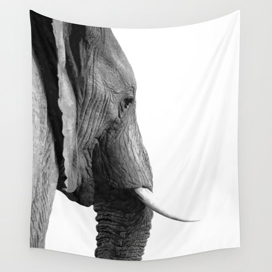 Black and white elephant portrait wall tapestry by alemi society6