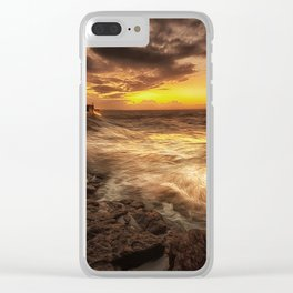 Porthcawl Sunrise with an oil painting effect on the sea Clear iPhone Case